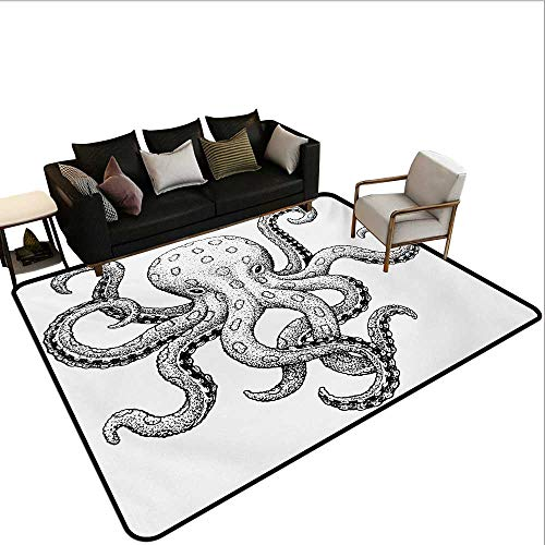 Non-Slip Floor mat,Sketch Style Print of Deadly Blue Ringed Octopus Camouflage Marine Animal Aquatic 6'x9',Can be Used for Floor Decoration