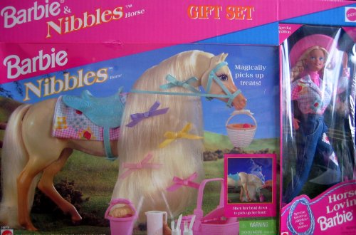 Barbie & Nibbles Horse Gift Set w Horse Lovin' Barbie Doll (Special Edition) & Nibbles Horse w Picnic Set (1995) (Barbie Gift Basket)