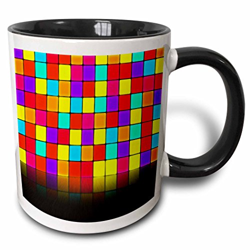 3dRose Anne Marie Baugh - Room Effects - Colorful Squares Wall With Mirrored Effect Floor - 15oz Two-Tone Black Mug (mug_213813_9)