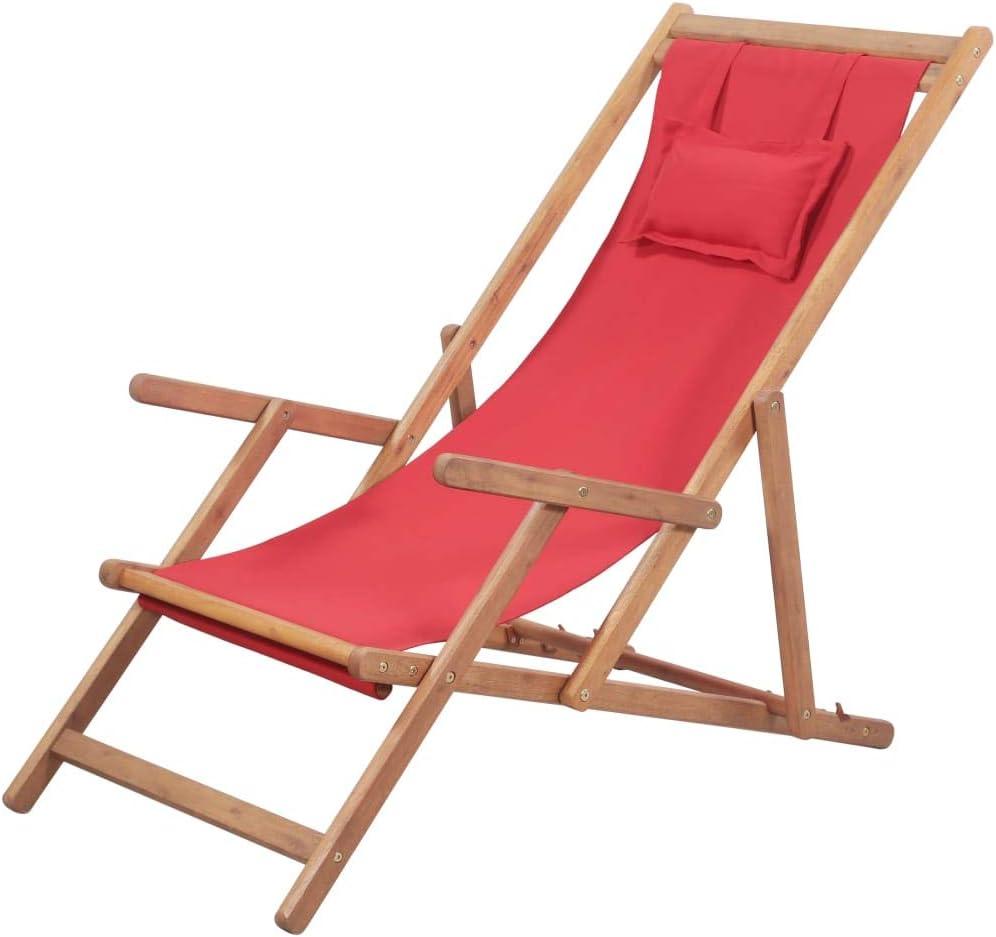 Festnight Silla de Playa Jardin Tumbonas Plegable 3 Posiciones Ajustables con Almohada Rojo