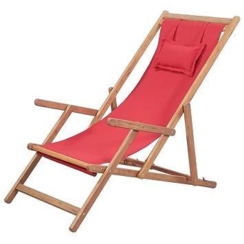 vidaXL Silla de Playa Plegable Tela Roja Piscina Patio Terraza Exterior Verano