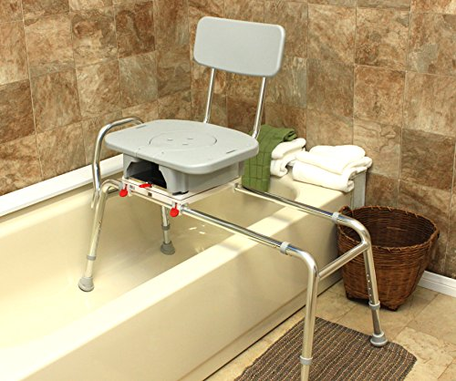Swivel Sliding Bath Transfer Bench with Replaceable Cut-Out Seat (77683) - Long (Base Length: 43'' - 44'') - Heavy-Duty Shower Bathtub Chair - Eagle Health Supplies by Eagle Health Supplies (Image #2)