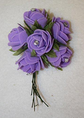lila 6 mini centro diamante rosas de espuma ojal de boda ramos
