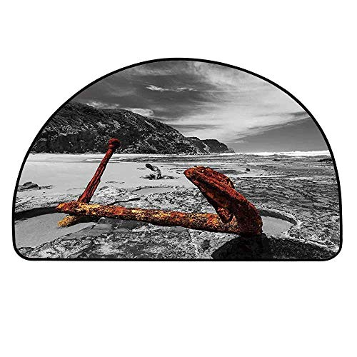 YOLIYANA Shipwreck Semicircle Rug,Weathered Photo of Aged and Decayed Flaking Anchor on The Beach by The Hills Marine Floor Mat,39.3