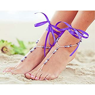 Satin Ankle Tie Foot Chain Brarefoot Sandals Lace up Shoe Heels Dress Gift (Purple)