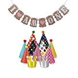 First Birthday Outfit Girl, Yuccer Pink Heart Party Supplies 1st Birthday with 11 Pack Party Hats for Kids or Adults