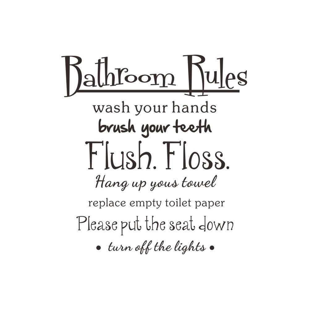 Hide on bush Bathroom Rules Wash Vinyl Pretty Comfortable Feeling Wall Home  Decor Decal Quote Room Inspirational Cute (Matte Black)