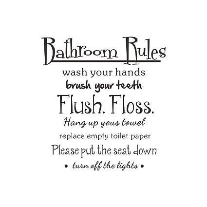 Maturegirl Bathroom Rules Wash Vinyl Wall Home Decor Decal Quote