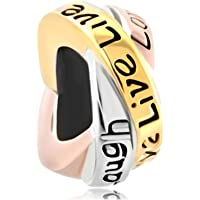 Sale Cheap New Jewelry Lucky Trinity Ring Live Love Laugh Charms Beads For Charm Bracelets Gifts