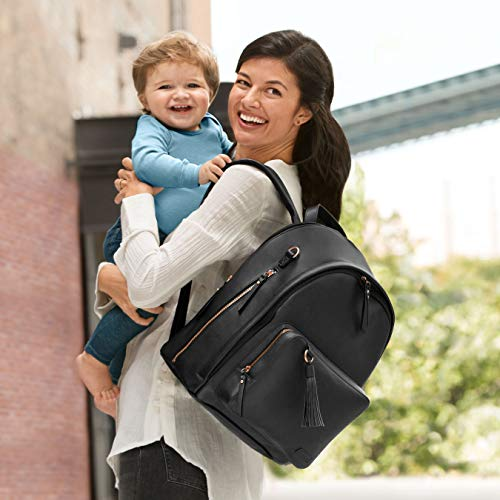 Skip Hop Diaper Bag Backpack, Greenwich Multi-Function Baby Travel Bag With Changing Pad And Stroller Straps, Vegan Leather, Black/Rose Gold by Skip Hop (Image #5)
