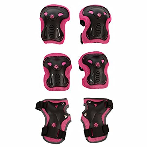 High Bounce Knee Pads and Elbow Pads with Wrist Guards Protective Gear Set for Biking, Cycling and Multi Sports Safety Protection: Scooter, Skateboard, Bicycle, Rollerblades (Pink, - Professional Roller Skating