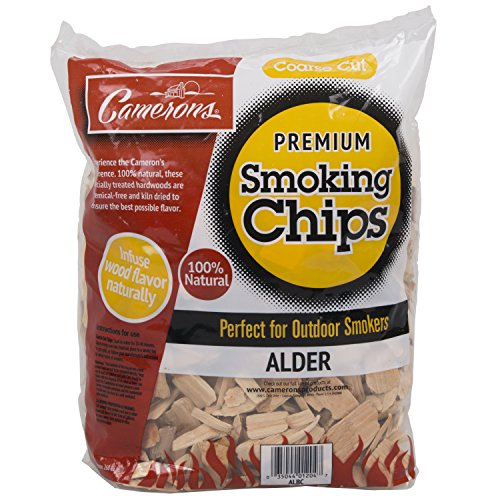 Camerons Smoking Chips (Alder)- 2 Pound Bag Barbecue Chips- Kiln Dried, Natural Coarse Wood Smoker Sawdust Shavings