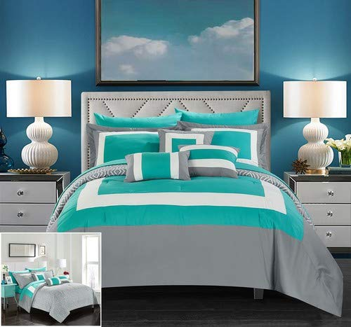 Chic Home Jake 10 Piece Comforter Set Reversible Hotel Collection Color Block Geometric Pattern Print Design Bed in a Bag Bedding - Sheets Decorative Pillows Shams Included King Turquoise