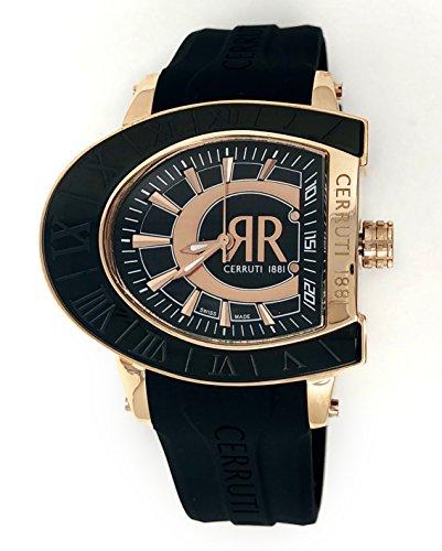 Cerruti 1881 Mens Watch Black Rose Gold Tone with Rubber Strap CRWE001D224U