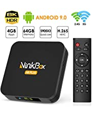 NinkBox Android TV Box Android 9.0, 【4G+64G】 N8 Plus TV Box de Bluetooth 4.0, Amlogic S905X3 Quad-Core 64bit Cortex-A55, Box Android TV de LAN100M et Wi-FI 2.4G/5G TV Box 8K Boitier Android TV