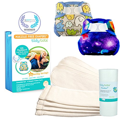 Tidy Tots Diaper Hassle Free 4 Diaper Hook & Loop Essential Set With Elephant and Star Chaser by Tidy Tots Diapers