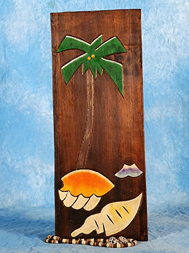 TikiMaster PALM & SEA SHELLS RELIEF - 20'' CARVED & PAINTED - OCEANIC ART by TikiMaster