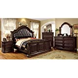 247SHOPATHOME IDF-7711Q-6PC Bedroom-Furniture-Sets, Queen, Cherry