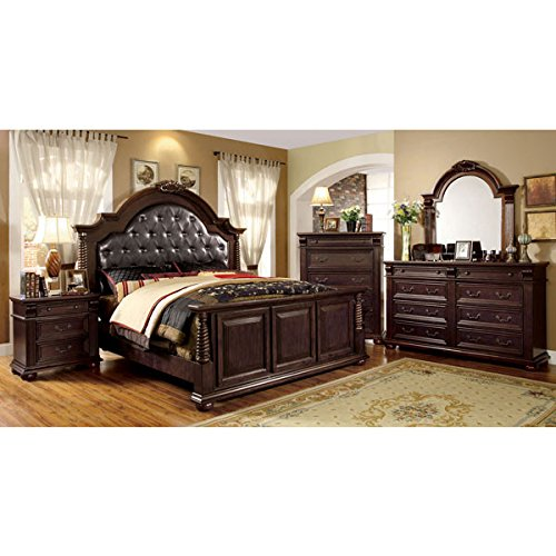 Esperia English Style Brown Cherry Finish Cal King Size 6 Piece Bedroom Set