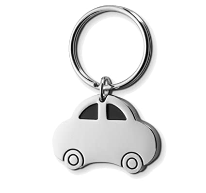 Silver Metal Keyring Stocking Filler Gift Llavero, 4 cm, Plateado (Car)