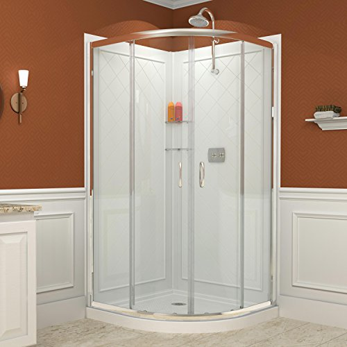 DreamLine Prime 38 in. D x 38 in. W Kit, with Corner Sliding Shower Enclosure in Chrome, White Acrylic Base and Backwalls