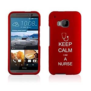 HTC One M9 Snap On 2 Piece Rubber Hard Case Cover Keep Calm I Am A Nurse (Red)