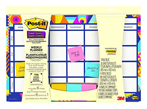 Post-it Weekly Planner with Post-it Super Sticky Full Adhesive Notes to Help Organize and Keep Track of Daily Events, Gradient Watercolor, 17-15/16 in x 11-15/16 in (730-CAL-GRDNT) (Stick It Weekly Planner)