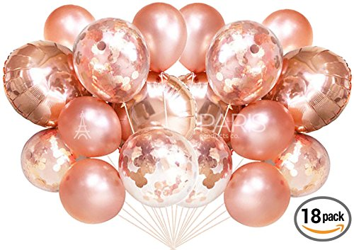 Confetti Balloons | Large Foil Balloons, Confetti Pre Filled | Elegant Latex Party Balloons for Weddings, Birthdays, Bridal Showers (Rose Gold (18 (Invitations Bridal Bouquet)
