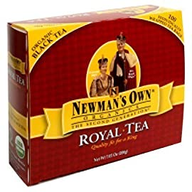 Newman's Own Organics Black Tea 100 Bags (Pack of 5) 6 Double chamber tea bags Gluten and dairy free Comes in individual paper envelopes