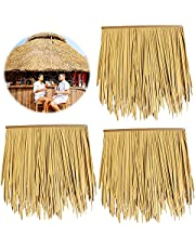 Artificial Straw Thatch Tile Plam,Flame Retardant Property Safer,Decoration Straw Roof for Tiki Hut Bar Garden Patio Deck Gazebos Wall(Size:6pcs,Color:Straw Yellow)