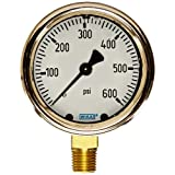 WIKA 9310754 Industrial Pressure Gauge, Liquid-Filled, Copper Alloy Wetted Parts, 2-1/2
