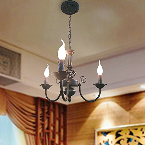 - European candle wrought iron chandelier modern LED energy saving ceiling light, vintage minimalist dining room bedroom chandelier (45 x 27 cm)