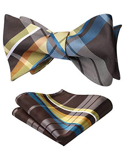 HISDERN Men's Check Plaid Bowtie Formal Tuxedo Self-Tie Bow Tie and Pocket Square Set