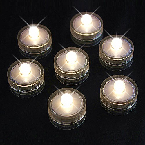 Acmee Pack of 10 Warm White LED Submersible Mini Vase Light for Wedding Decoration, LED Underwater Tealight Candle for Table Centerpiece