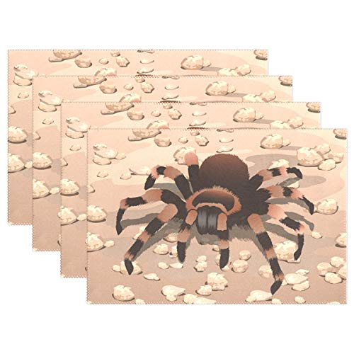 Jereee Spider Tarantula Set of 1 Placemats Heat-Resistant Table Mat Washable Stain Resistant Anti-Skid Polyester Place Mats for Kitchen Dining Decoration (Tarantula Desk Decoration)