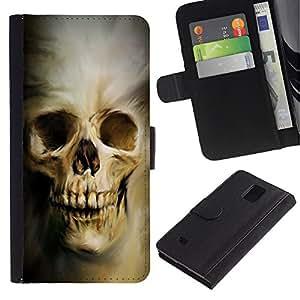 YiPhone /// Tirón de la caja Cartera de cuero con ranuras para tarjetas - Cráneo gótico Evil - Samsung Galaxy Note 4 IV