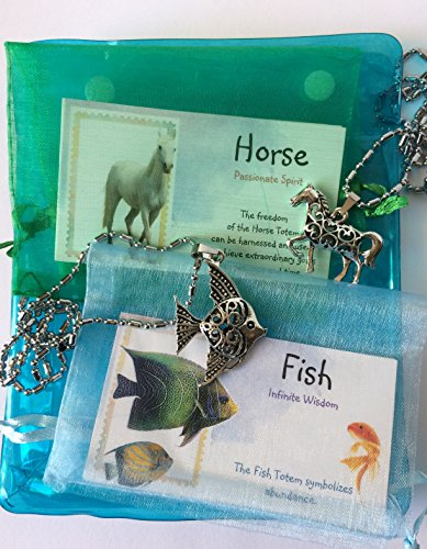 Smiling Wisdom - Horse, Angel Fish, 2 New Hollow Necklaces Gift Sets - 2 Totem Animal Gifts - Children Tweens Teens Girls Adults, Friends - Morale Events, Ice Breakers, Party Favors, BFF, Valentines