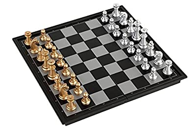 TOKYO-H Magnetic Chess and Checkers Gold Silver Set for Travel (10x10x0.8 inch)