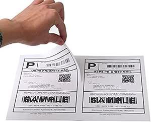 """[100 ورقة؛ 200 ملصق] ملصقات شحن ذاتية اللصق لطابعات ليزر ونافثة للحبر، 5-1/2"""" X 8-1/2"""""""