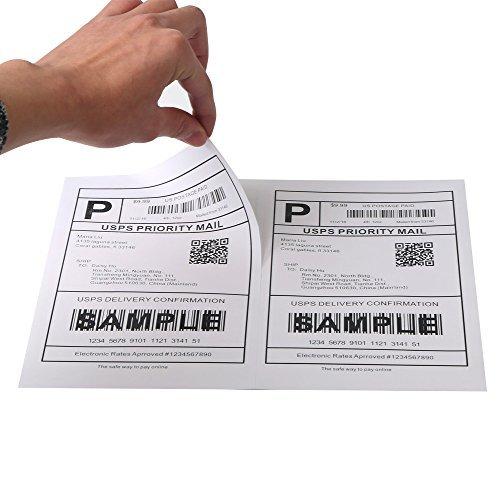 [250 Sheets; 500 Labels] Half Sheet Self Adhesive Shipping Labels for Laser & Inkjet Printers, 5-1/2