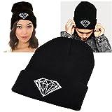 Insten Unisex Knit Hip-hop Beanie Hat, Black with Diamond