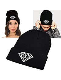 Insten Unisex Knit Hip-hop Beanie Hat, Black with Diamond