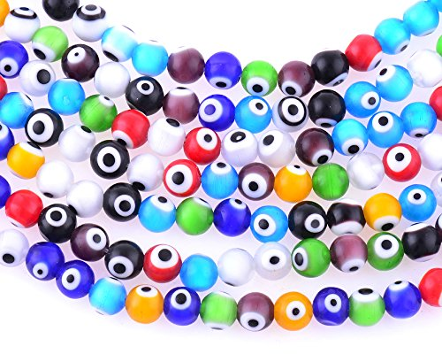 6mm 200 Pcs Evil Eye Glass Beads Assorted Colors of Jewelry Findings for Bracelet ,Necklace or Others