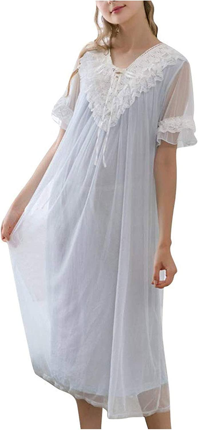 Vintage Nightgowns, Pajamas, Baby Dolls, Robes Asherbaby Womens Long Victorian Nightgown Lace V Neck Princess Sleepwear Dress $28.99 AT vintagedancer.com