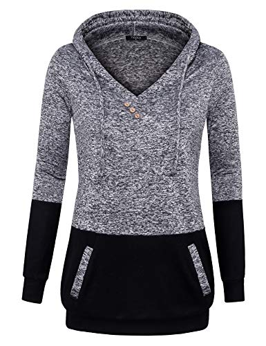 (VALOLIA Pullover Hoodie Women, Women's Fleece Marled Raglan Hooded Sweatshirt Slim Tops Multi-Black XL)