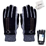 WITERY Men's Winter Leather Gloves Thick Warm Fleece Windproof Gloves Cold Proof Thermal Mittens - Ideal for Dress Driving Cycling Motorcycle Camping etc Black