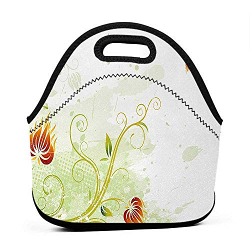 Neoprene Lunch Bag Floral,Swirled Petals Lines on Grunge Background Retro Scroll Botany Design,Light Green Pistachio Ruby,girls lunch bag for teens ()