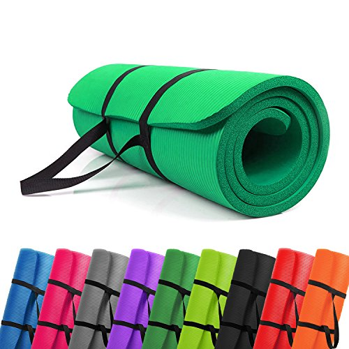 PROMIC All-purpose 1/2 inches Extra Thick 72 inches Long High Density Anti-Tear Non-Slip Exercise Mat, Yoga Mat, Pilates Mat with Carrying Strap for Fitness, Workout