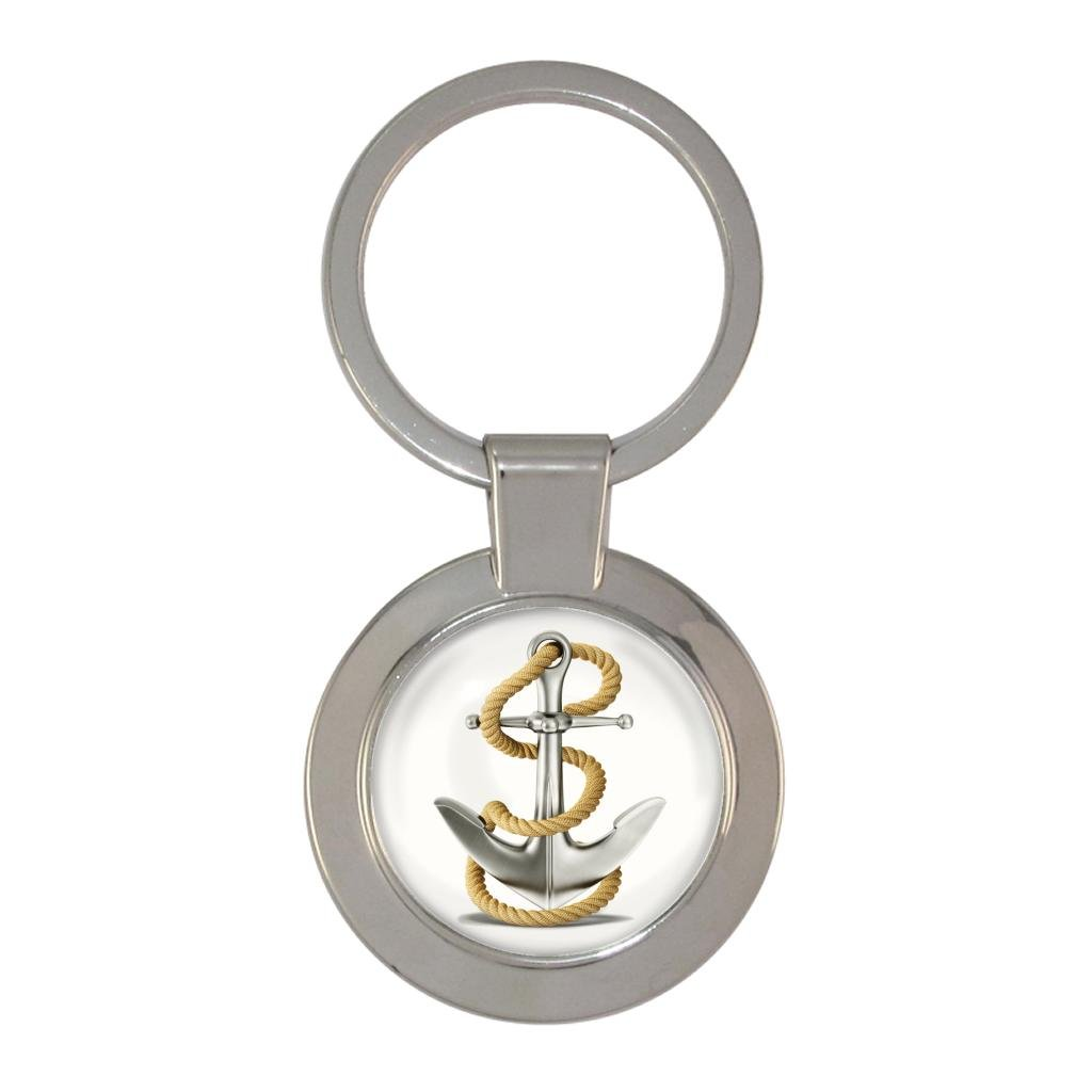 Detailed Anchor and Rope Image Metal Chunky Keyring in Gift Box