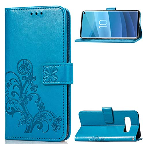 Tom's Village Lucky Clovers Wallet Case for Samsung Galaxy S10 PU Leather Magnetic Flip Cover Shockproof Drop Resistant Flexible Soft TPU Shell Slim Protective Bumper Card Slots Kickstand Blue